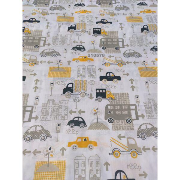 mintás vászon/ autók (teherautó 9cm*7cm)/sárga-szürke