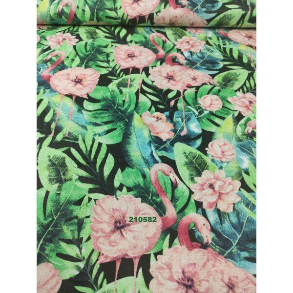 mintás vászon/ nagyleveles virágflamingó (virág 8cm*7cm)