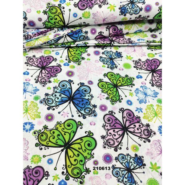 mintás pamutvászon /díszes pillangók (nagy kék pillangó 11.5cm×16cm) /fehér