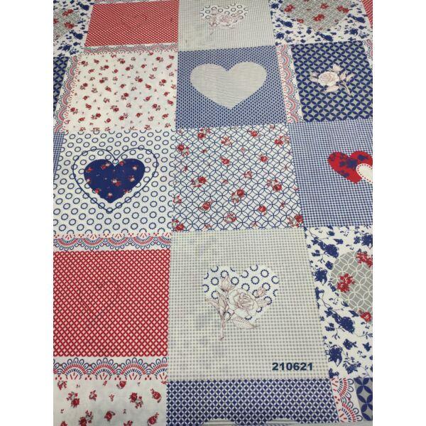 mintás pamutvászon /szíves-virágos patchwork (sötétkék nagy szív 15.5 cm×13.5 cm) /fehér