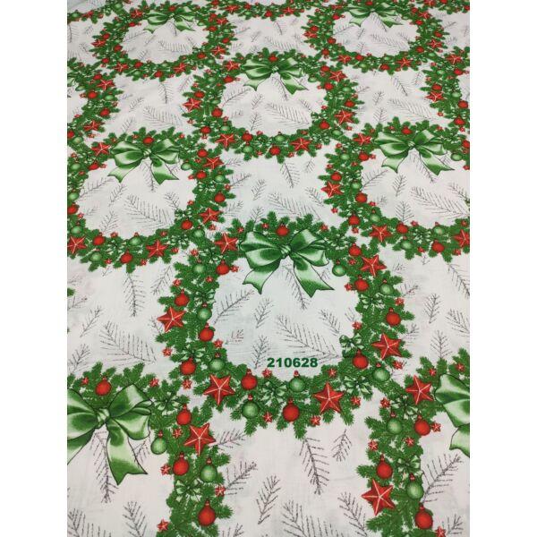 mintás pamutvászon /karácsonyi koszorúk (koszorú 24cm × 25cm) /piros