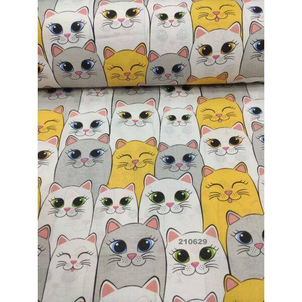mintás pamutvászon /sárga-szürke cicák sorban (sárga cica 12.5cm × 8cm) /fehér