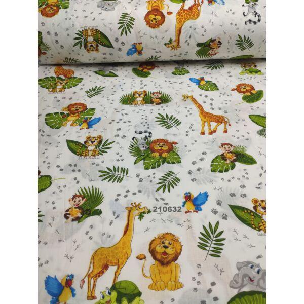 mintás pamutvászon /lábnyomok a dzsungelben (Maki levéllel 8cm × 4cm) /fehér
