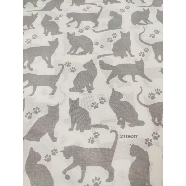 mintás pamutvászon /szürke cicák tappanccsal (játékos cica 9cm×8.5cm) /fehér