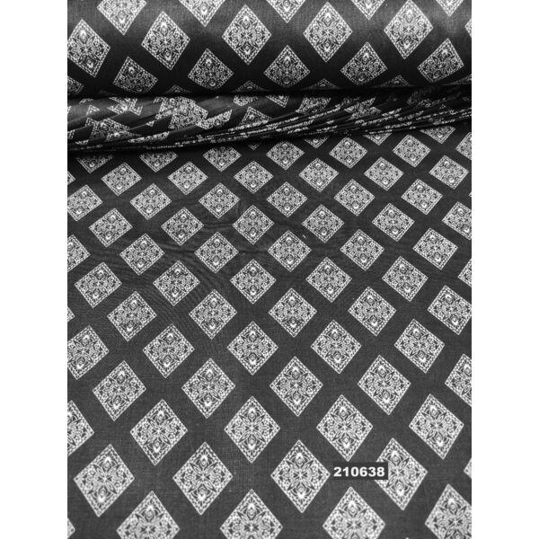 mintás pamutvászon /díszes csempék (csempe 3cm × 2.5cm) /fehér-fekete