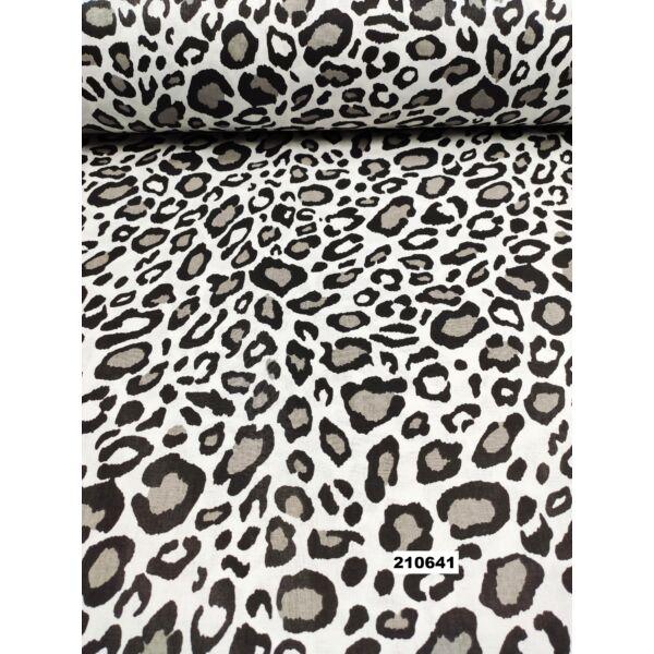 mintás pamutvászon / szürke-fekete leopárd mintás /fehér