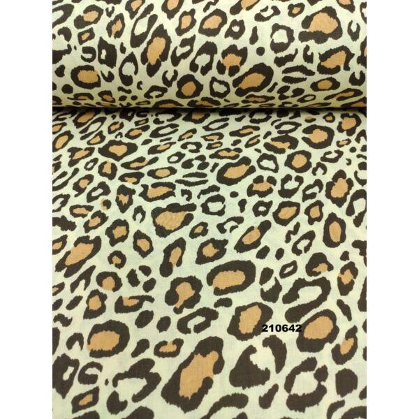 mintás pamutvászon /barna-fekete leopárd mintás /sárga