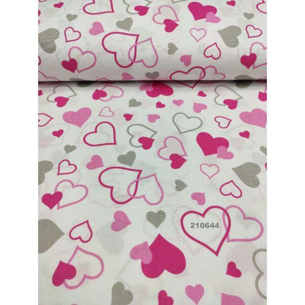 mintás pamutvászon /rózsaszín-szürke szívecskék (rózsaszín nagy teli szív 5cm × 5.5cm) /fehér