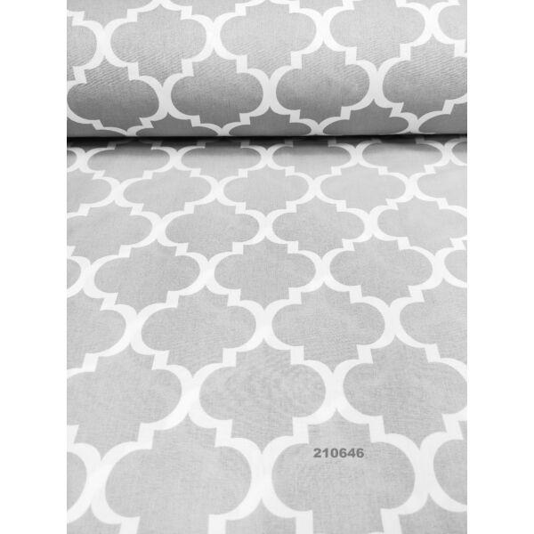 mintás pamutvászon /fehér marokkói minta (8cm × 8.5cm) /szürke