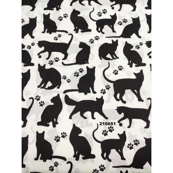mintás pamutvászon /fekete cicák tappanccsal (játékos cica 9cm×8.5cm) /fehér