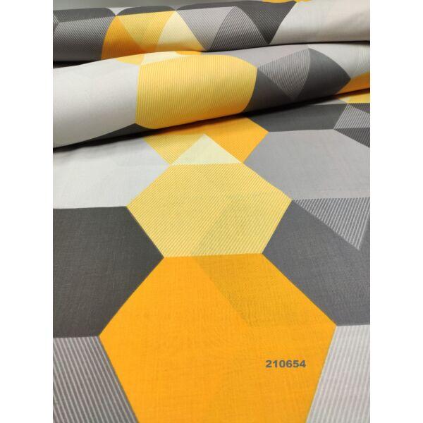 mintás pamutvászon /mustársárga-szürke hatszögek (csíkos sárga 20cm × 16cm)