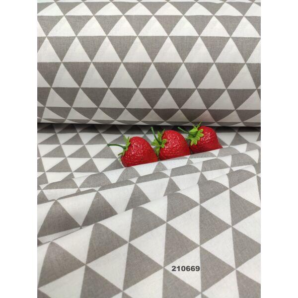 mintás pamutvászon /háromszögek (2.5cm × 3cm) /szürke-fehér