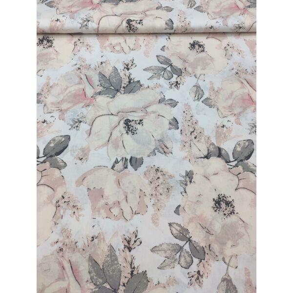 mintás pamutvászon /mályva rózsák (nyitott rózsa 21cm × 22cm) /fehér