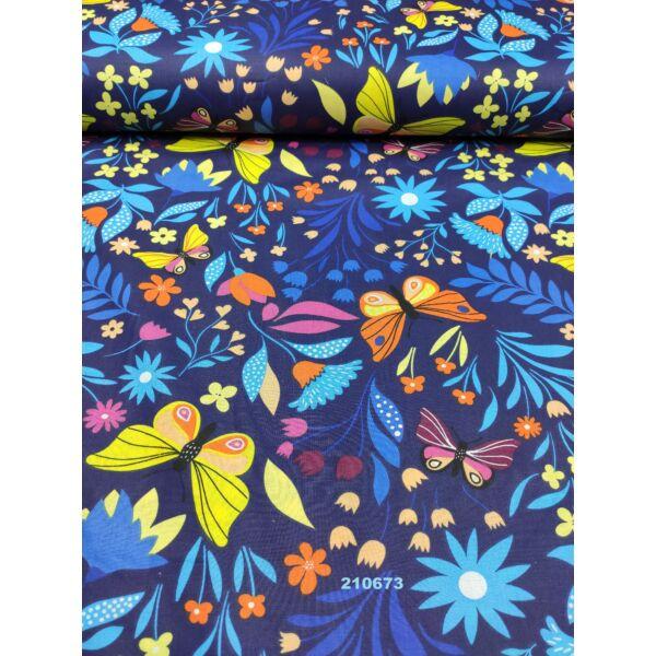 mintás pamutvászon /színes pillangók virágokkal (narancssárga pillangó 7cm × 10cm) /sötétkék
