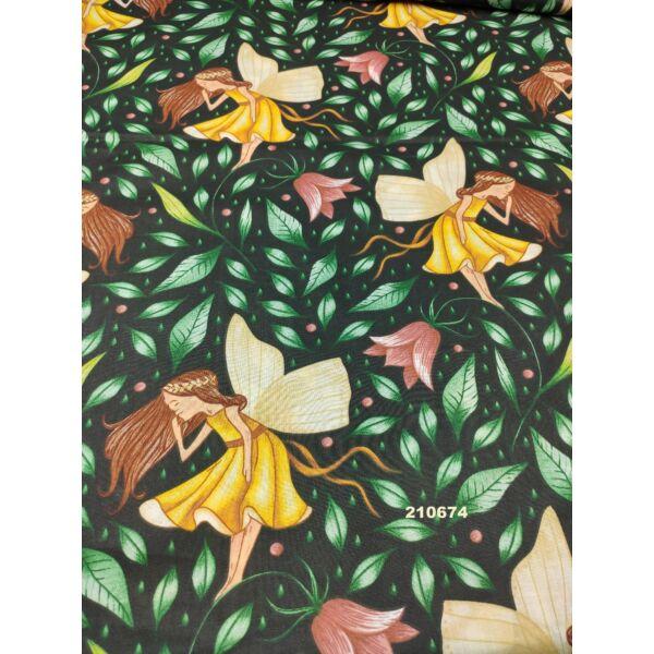 mintás pamutvászon /tündér tulipánnal (tündér 15cm × 18cm) /fekete