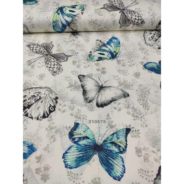 mintás pamutvászon /festett pillangók (nagy fekete pillangó 15cm × 21cm) /ecrü