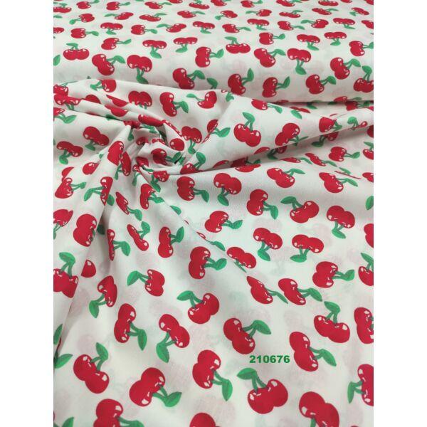 mintás pamutvászon /piros cseresznye (2.8cm × 3cm) /fehér
