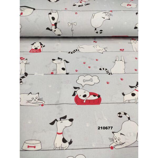 mintás pamutvászon /álmodozó kis kedvencek (álmodó kutya 10,5cmx12,5cm) /világos szürke
