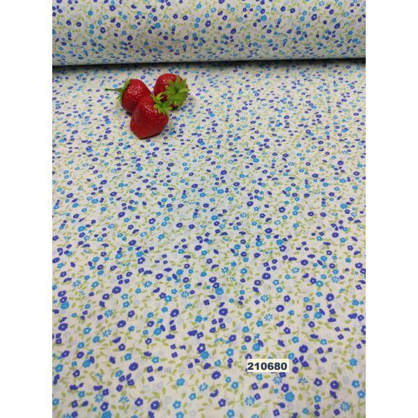mintás pamutvászon /kék szirmú kis virág
