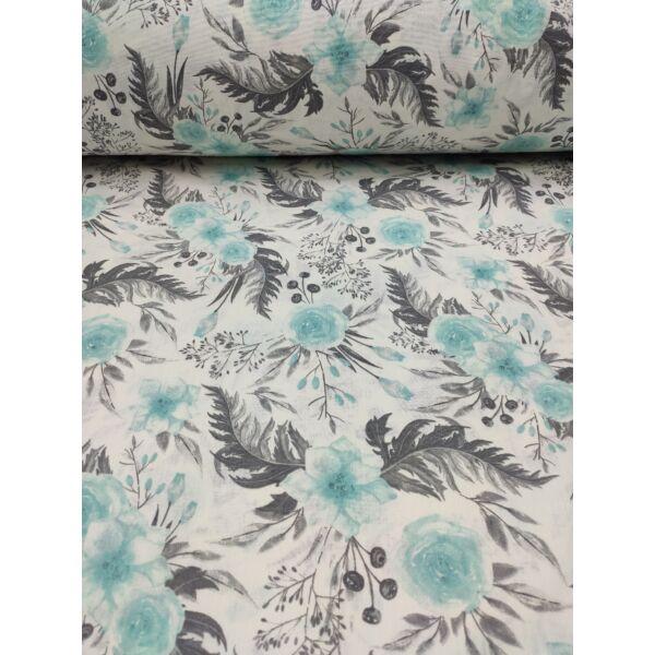 mintás pamutvászon /festett virágok (három virág 15cm*28cm) /menta-szürke
