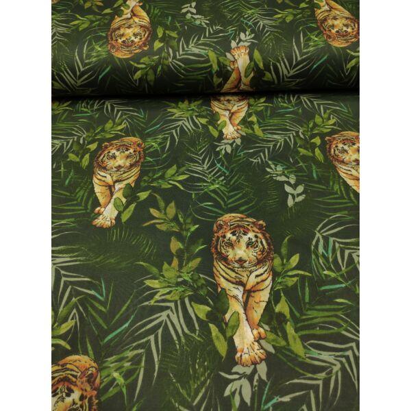 mintás pamutvászon /tigris a dzsungelben (tigris 7.5cm*17.5cm) /sötétzöld