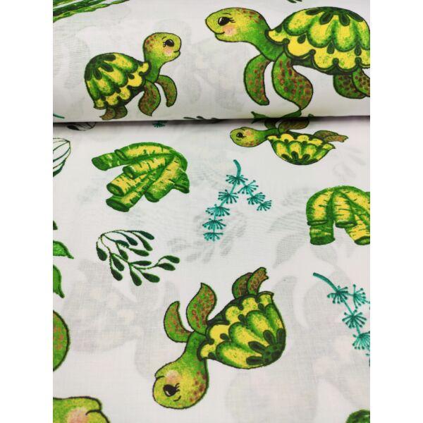 mintás pamutvászon /teknős család a természetben (teknős mama 9.5cm×15cm) /fehér