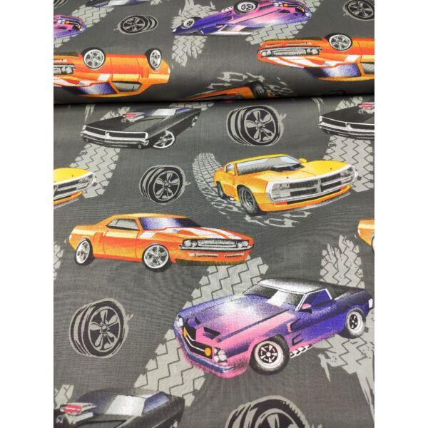 mintás pamutvászon /amerikai autók (fekete Dodge Charger R/T 7cm×14.5cm) /sötétszürke
