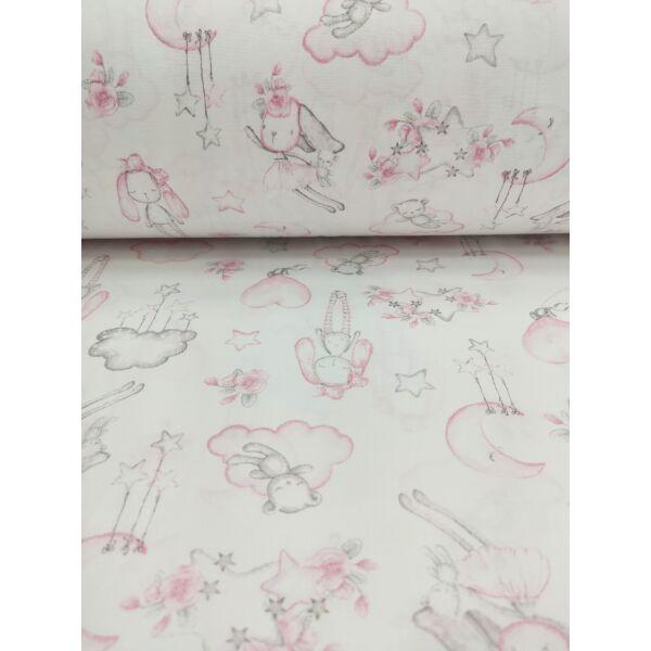 mintás pamutvászon /álmodozó nyuszi (nyuszi repülővel 11cm×16cm) /fehér-rózsaszín