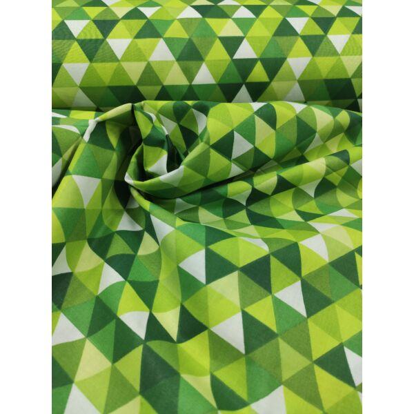 mintás pamutvászon /háromszögek (2cm×2.5cm) /zöld-fehér