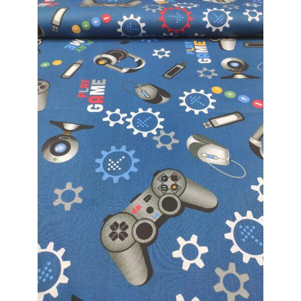 mintás pamutvászon /gamer kiegészítők (kontroller 10cm × 16cm) /sötétkék