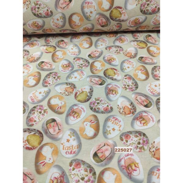 mintás LONETA vastag vászon /Húsvéti tojások (virágos tojás 4,7cm*3,5cm)