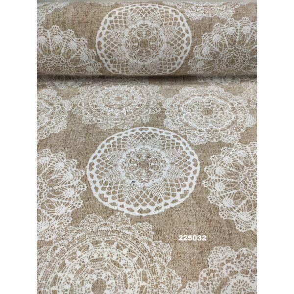 LONETA vastag vászon /fehér csipkés mandalák (legnagyobb mandala 16.5cm×18cm) /sötét melange drapp