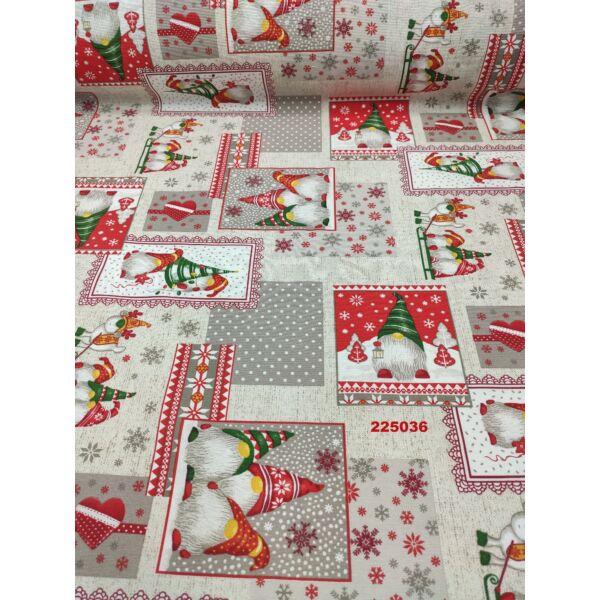 mintás LONETA vastag vászon / karácsonyi manós patchwork (zöld sapkás manó lámpással 12cm × 10.5cm) /drapp melange