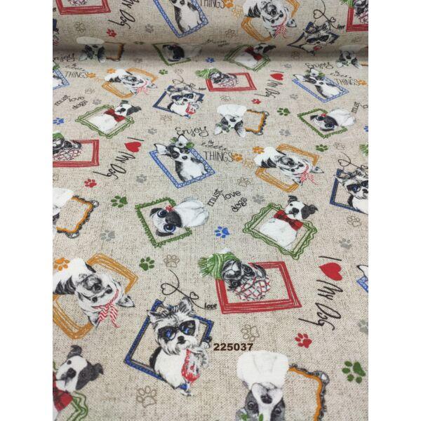 LONETA mintás vastag vászon /bolondos kutyaportrék (Westie 7cm ×7cm) /drapp melange