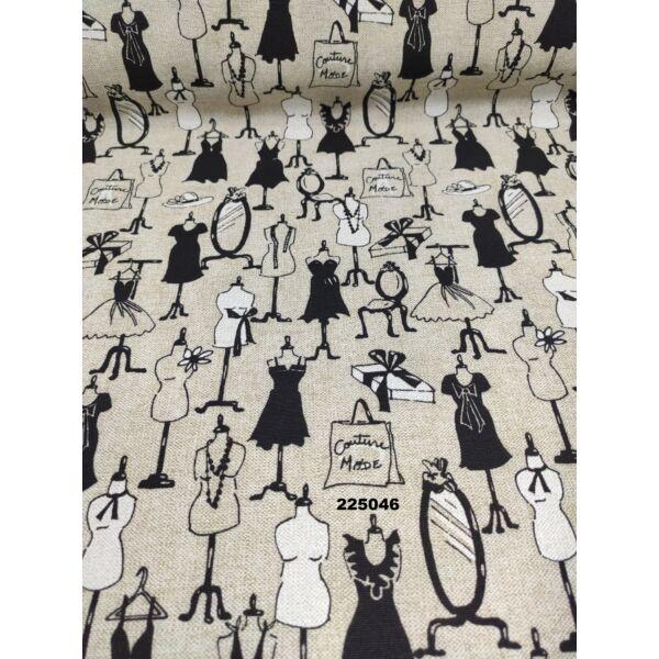 mintás LONETA vastag vászon /Párizsi divat (tükör 8cm × 3cm) /drapp