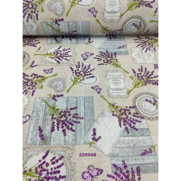 mintás LONETA vastag vászon /francia levendulacsokor (levendulacsokor 11.5cm × 8cm) /drapp