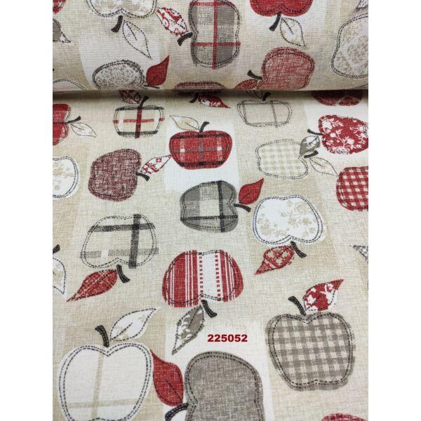 mintás LONETA vastag vászon /mintás almák (piros alma 8.5cm × 6.5cm) /drapp melange