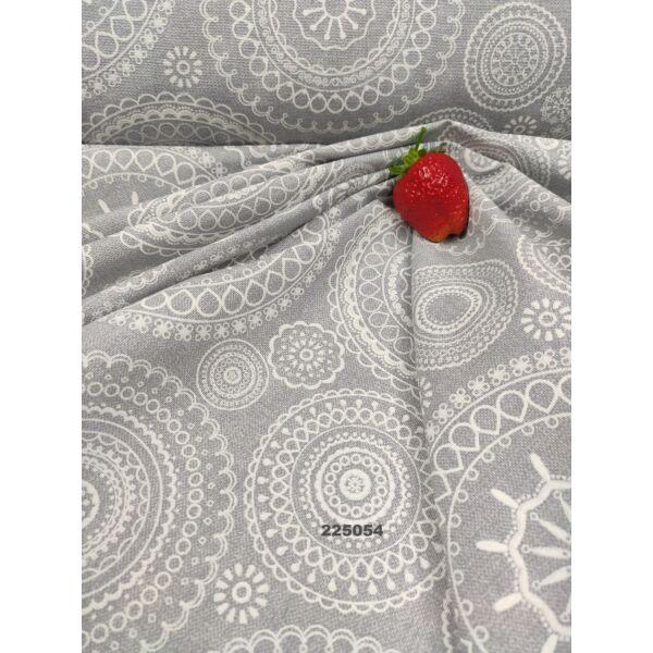 mintás LONETA vastag vászon /fehér mandalák (virágos szegélyű mandala 15cm × 15cm) /szürke