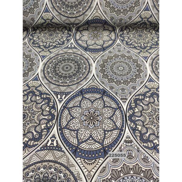mintás LONETA vastag vászon /gótikus minta (nagy minta 30cm × 16cm) /szürke-kék