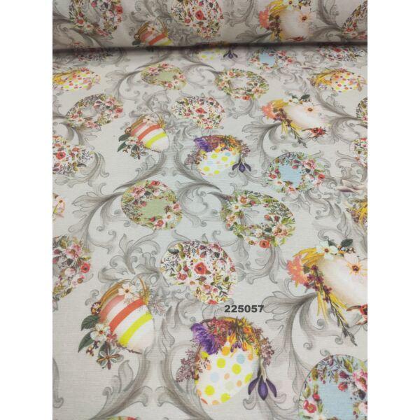 mintás LONETA vastag vászon /virágos húsvéti díszek (csíkos tojás 6.5cm × 8cm) /világosszürke