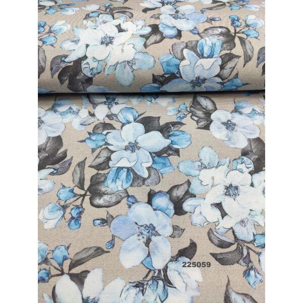 mintás LONETA vastag vászon / kék nagy virágok (nagy virág rózsákkal 16cm × 18cm) /szürke
