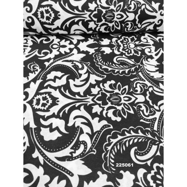 mintás LONETA vastag vászon /barokk minta (egy minta 30cm × 32cm) /fekete-fehér