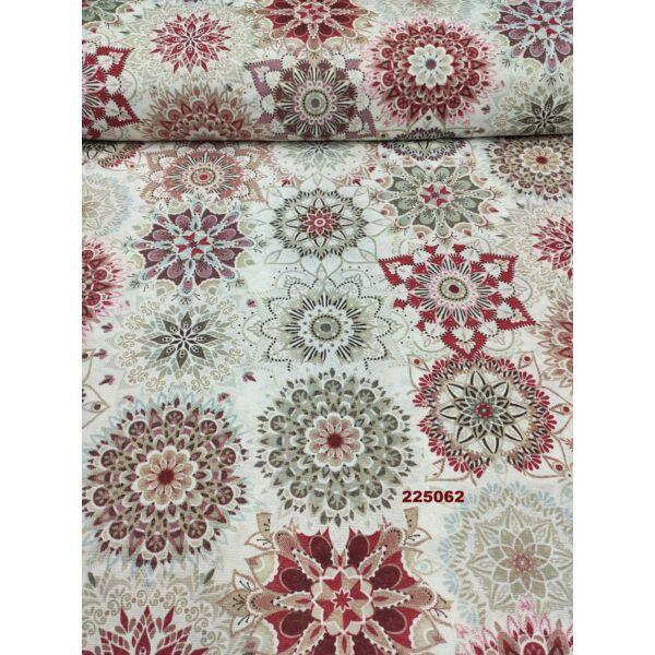 mintás LONETA vastag vászon /bézs-bordó mandalák (nagy bordó mandala 15cm × 15cm) /fehér