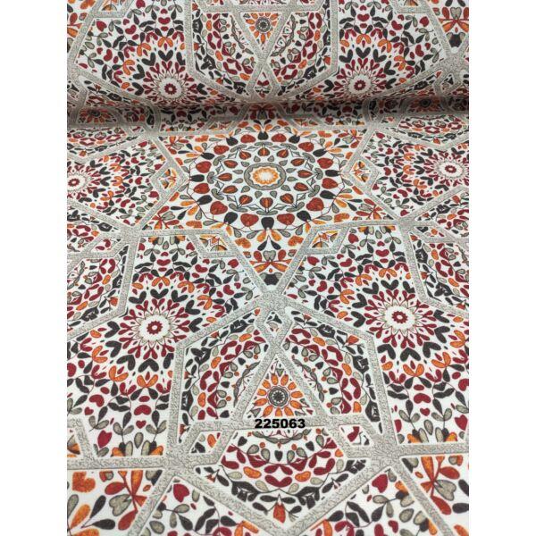 mintás LONETA vastag vászon /absztrakt mandalák (csillagos keretű 26cm × 26cm) /terrakotta-narancssárga