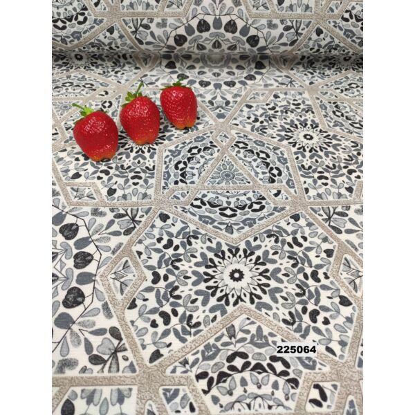 mintás LONETA vastag vászon /absztrakt mandalák (csillagos keretű 26cm × 26cm) /fekete-szürke