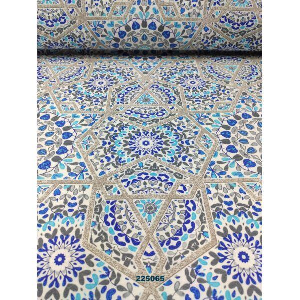 mintás LONETA vastag vászon /absztrakt mandalák (csillagos keretű 26cm × 26cm) /királykék-türkizkék