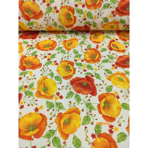 mintás LONETA vastag vászon /narancssárga pipacsok (sötét narancssárga pipacs 11.5cm × 10cm)