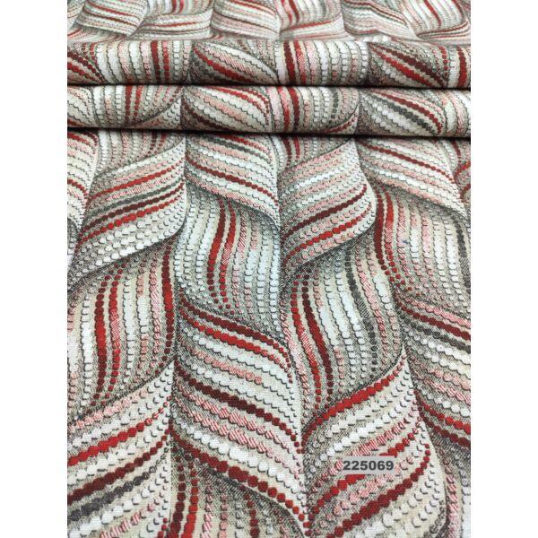 mintás LONETA vastag vászon /absztrakt sodrott minta /bordó-drapp