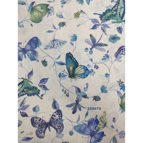 mintás LONETA vastag vászon /szépséges pillangók(szitakötő 9.5cm × 10cm) /kék-zöld