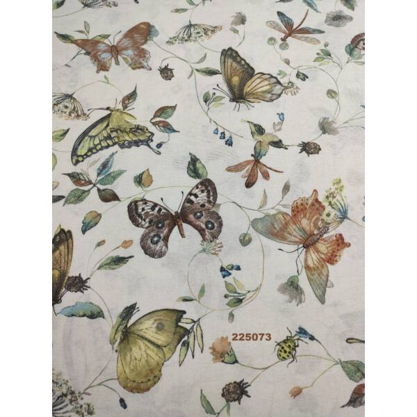 mintás LONETA vastag vászon /szépséges pillangók(szitakötő 9.5cm × 10cm) /barna-zöld